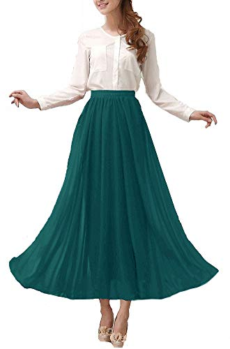 Ankle Length Dress - Afibi Womens Chiffon Retro Long Maxi Skirt Vintage Dress (Large, Jasper)