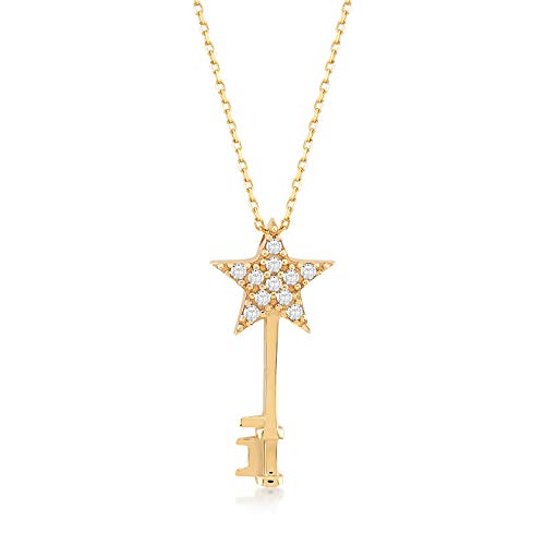 GELIN 14k Yellow Gold Star Key with CZ Pendant Necklace for Women, 18