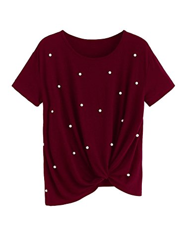earl Embellished Short Sleeve Knot Blouse Tops Red M ()