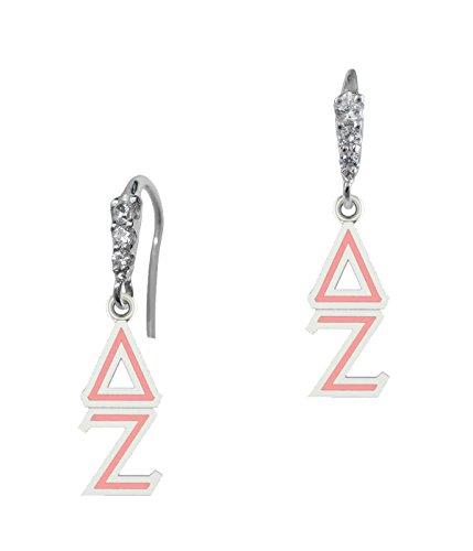 Elegant Delta Zeta Lavaliere Cz and Sterling Silver Drop Earrings