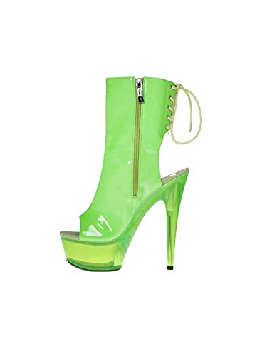 The Highest Heel Women#039s AMBER601 Ankle Bootie Neon Green Pat Platform Sandal 7 BM US
