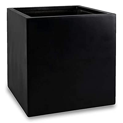 Black Square Planter Box Indoor Outdoor Flower and Tree Cube Planting Pot 16