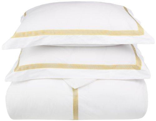 Miller 3-Piece Cotton Duvet Cover Set, King/California King, White/ Gold