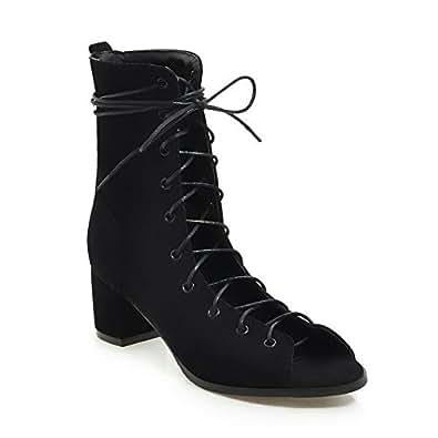 BalaMasa Womens ABS13968 Light-Weight Chukka Huarache Black Pu Boots - 2 UK (Lable:33)