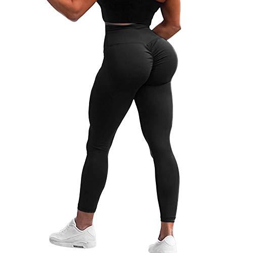 (HURMES Women's High Waist Yoga Pants Scrunch Ruched Butt Lifting Leggings Tummy Control Booty Push Up Workout Tights Black)