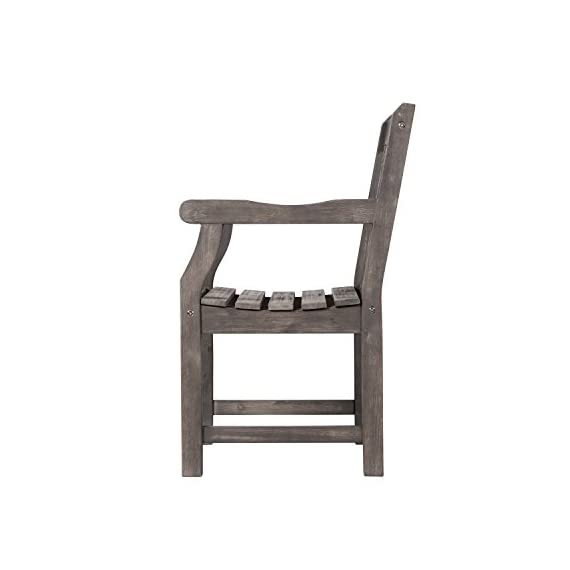 Vifah V1301 Renaissance Hand-Scraped Acacia Patterned Back Outdoor Armchair - Contoured back, contoured seat, with armrests FSC Acacia hardwood Hand-scraped Hardwood - patio-furniture, patio-chairs, patio - 318ncgWbE8L. SS570  -