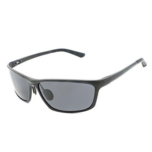 Magnesium Alloy Case - MOUMOTO Sunglasses for Men Polarized Aluminum-magnesium Alloy Frame Oval UV400 Protection Eyewear With Anti-pressure Case (Black/67mm)