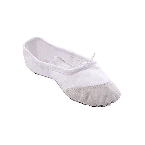 Femmes Dames Filles Enfants Toile Ballet Danse Gymnastique Yoga Chaussures Blanc