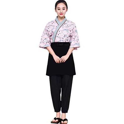 XINFU Sushi Chef Pink Lotus 3/4 Long Sleeve Restaurant Japanese Kimono Kitchen Work Uniform