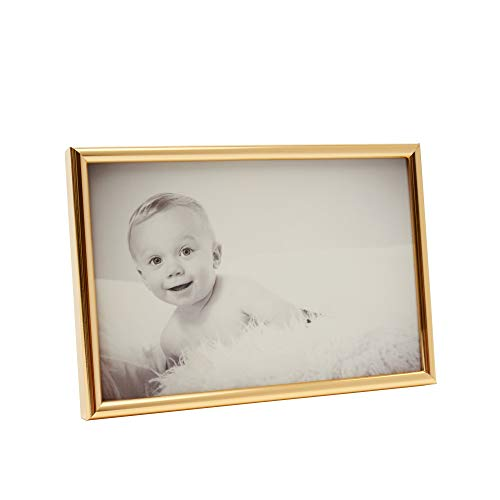 Gold Picture Frame 4x6 Inch - Aluminum Wall Photo Frames - Art/Picture Frames Kitchen/Office/Home/Table/Wall/Portrait - Hanging Pictures W/Metal Fixtures/Hanging Hardware - Acrylic Plexi-Glass]()