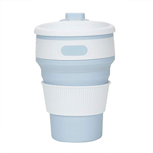 Xigeapg 350ml Portable Silicone Retractable Folding Cup Telescopic Collapsible Outdoor Travel Light blue