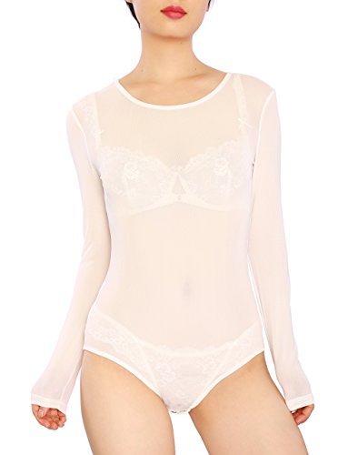 May&Maya Women's Sexy Sheer Mesh Long Sleeve Bodysuit (S, (100% Stretch Nylon Bodysuit)
