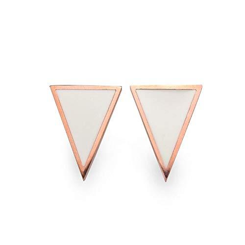 2 Colors Cute Stud Earring Trendy Geometric Triangle Enamel White Shell Mop Jewelry for Women Girl (MOP Stud Earrings) ()