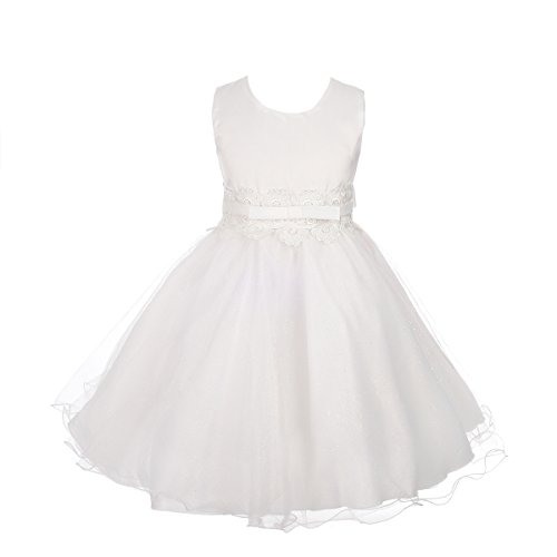 Dressy Daisy Girls' Lace Tulle Wedding Flower Girl Dresses Party Formal Occasion Kid Size 6X Ivory