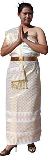 RaanPahMuang Thai Traditional Wedding Dress 4 Pc Outfit - Skirt Shirt Belt Sash, Size 40, Golden White (Silk Thai Dress Wedding)