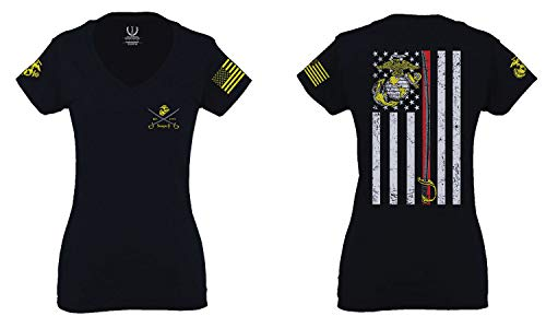 VICES AND VIRTUESS US Marine Corps Support Sword Thin line American Flag USMC for Women V Neck Fitted T Shirt (Black, Medium)