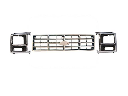 - Bundle 82-86 Ford Pickup / Bronco Grille Argent Headlight Door Bezel 3Pcs