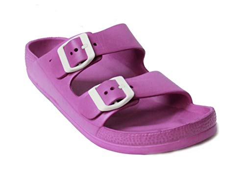 Women's Lightweight Comfort Soft Slides EVA Adjustable Double Buckle Flat Sandals Buddy (7 B(M) US, Purple)