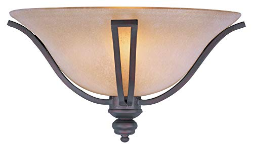 ra 1-Light Wall Sconce, Oil Rubbed Bronze Finish, Wilshire Glass, MB Incandescent Incandescent Bulb , 100W Max., Damp Safety Rating, Standard Dimmable, Glass Shade Material, 8050 Rated Lumens ()