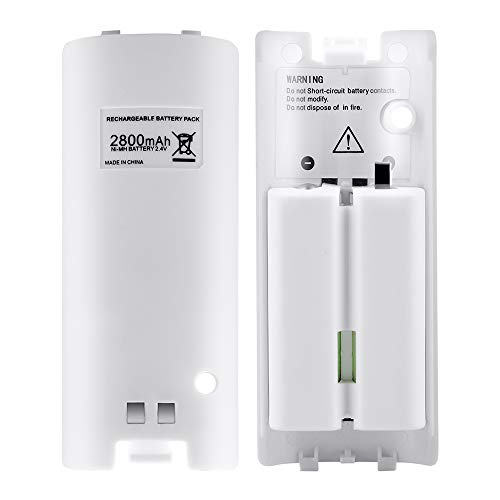 (Wii Rechargeable Batteries for Nintendo Wii Remote, Lavuky WD10 Wii Remote Batteries 2 Pack Rechargeable 2800mAh Capacity -White)