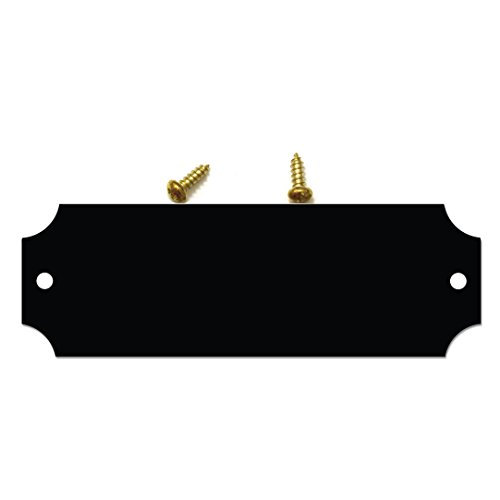 Solid Brass Gloss Black Finish Perpetual Plaque Blank Tag Notched Corners with Matching Screws 0.875