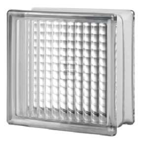 Quality Glass Block 8 x 8 x 4 Cross Ribbed Glass Block
