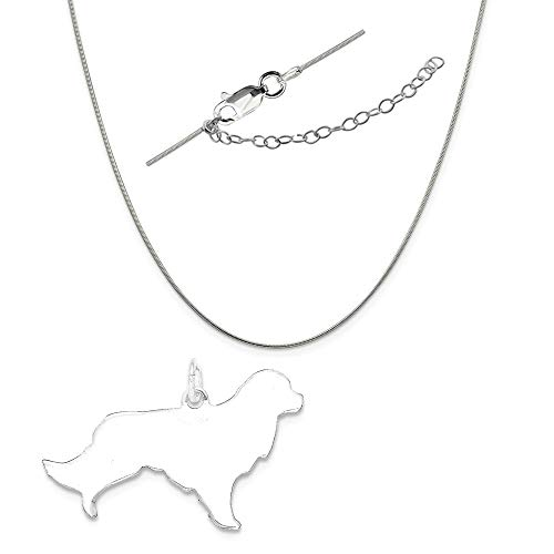 Sterling Silver Engraveable Small Golden Retriever Disc Charm on a Snake Chain, 18