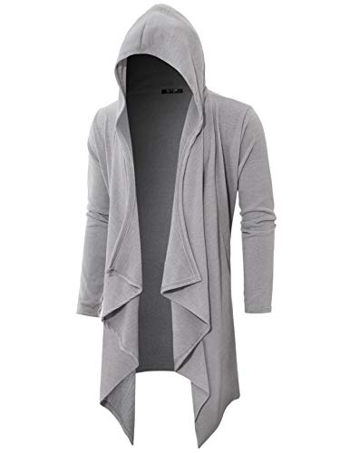(GIVON Mens Long Sleeve Draped Lightweight Ruffle Shawl Collar Cardigan Hooded Cardigan with Pocket/DCC145-GREY-M )