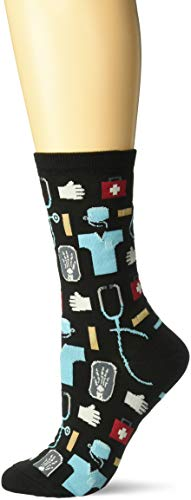 Hot Sox Women's Novelty Occupation Casual Crew Socks, Medical (black), Shoe Size: 4-10 Size: 9-11 ()