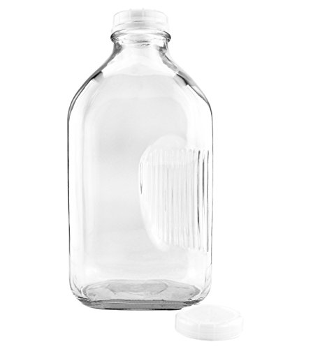 (Two-Quart Glass Milk Bottle with Side Grip (1-Pack); Clear Glass Rectangular Vintage Style Half Gallon Jug Great for Storing Milk, Juice & Water in Fridge, Includes Extra Lid)