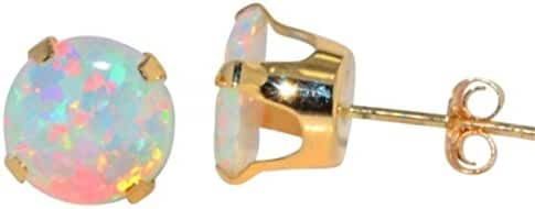 14Kt Yellow Gold Simulated Opal 6mm Round Stud Earrings