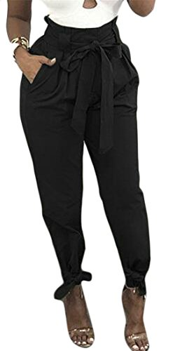 Cromoncent Womens Tie Bottom Solid Color High Waist Baggy Fit Belted Long Pants Black (Tie Bottom Pants)
