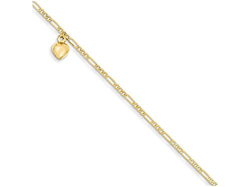 9 Inch 14k Yellow Gold Figaro Link with Dangling Heart Anklet (Smaller Ankles)