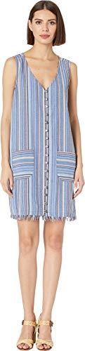 - Mod-O-Doc Women's Button Front Tank Dress in Linen Stripe Blue Medium
