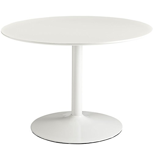 "Modway Rostrum Modern 44"" Round Top Pedestal Kitchen and Dining Room Table in White"