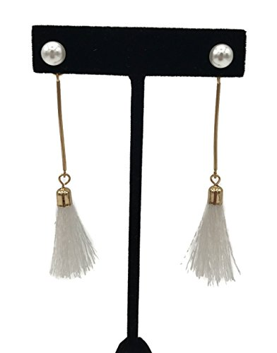 Short Tassel Dangle Earrings with Imitation Pearls in Gold Tone (White) - Pearl Fringe Earrings