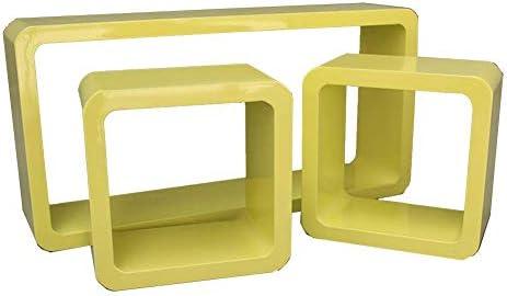 BZM-ZM フローティングウォールシェルフシェルフクリエイティブラウンジキューブの表示は、省スペース黄固定Pylonsのレトロデザイン木質パネルスタンド