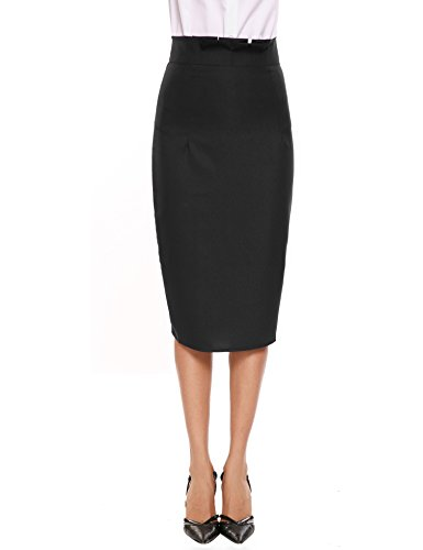 Angvns Women's Pleated High Waist Pencil Skirt for Office Black X (Fully Lined Pencil)