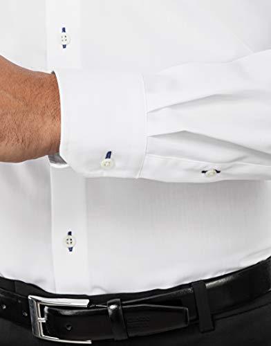 Et Boretti Vincenzo Regular Homme Porter Unie 2 Coton À Manches Tissu Coupe Infroissable Chemise Kent blanc fit bleu Normale Col 100 longues Agréable Pfgfrdx