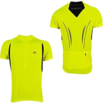 More Mile Hi Viz Short Sleeve Mens Cycling Jersey - Yellow-M: Amazon.es: Ropa y accesorios