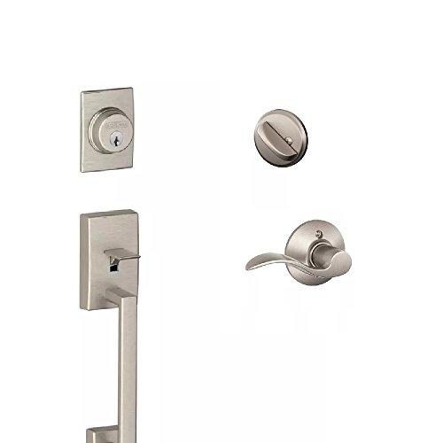 Schlage F60CEN619ACC(RH) Century Active Door Handleset with Accent Right Hand Interior, Satin ()