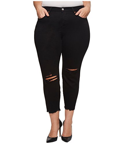 Levi's Women's Plus-Size Wedgie Jeans, Soft Ultra Black with Damage, 44 (US 24) (High Rise Levis Skinny Black)