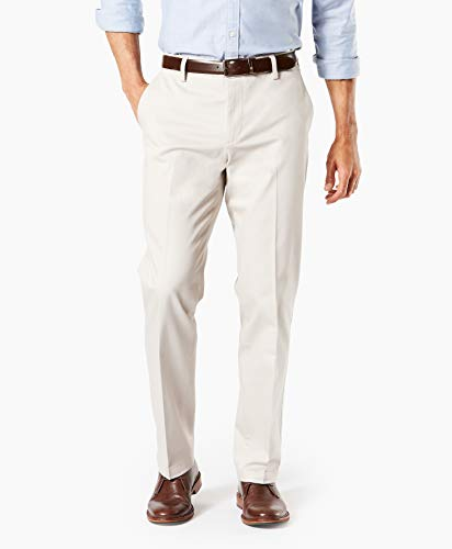 Dockers Men's Straight Fit Signature Khaki Lux Cotton Stretch Pants D2, Cloud - Creased, 31W x 32L