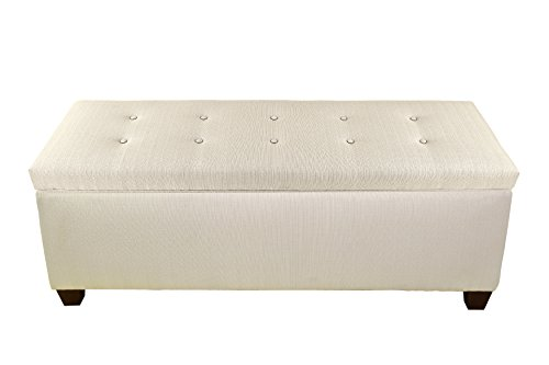 The Sole Secret Button Tufted Ottoman with Shoe Storage, Bedroom Bench with Shoe Storage Slots, 20