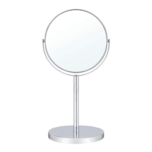 Polished Vanities 2 Brass - MODONA 6-Inch Two-Sided 1X and 5X Tabletop Makeup Vanity Mirror, 13.5-Inch Tall - Polished Chrome - 5 Year Warranty
