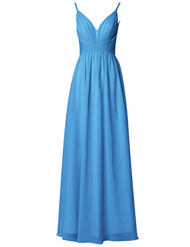 Linie Damen Kleider Blau Ballkleider Abendkleider Chiffon Rückenfrei Lang Ausschnitt Hochzeit A V Brautjungfernkleider P8FWYa8qw
