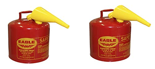 UI-50-FS Red Galvanized Steel Type I Gasoline Safety Can with Funnel, 5 gallon Capacity, 13.5 in Height, 12.5 in Diameter