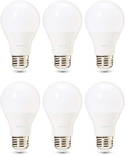 AmazonBasics 60 Watt 25,000 Hours Dimmable 800 Lumens LED Light Bulb - Pack of 6, Soft White