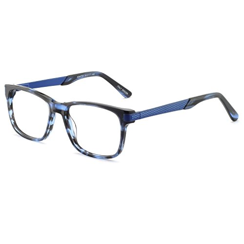 - OCCI CHIARI Optical Eyewear Non-prescription Fashion Glasses Eyeglasses Frame with Clear Lenses For Men Blue Light Blocking (Blue+Black)