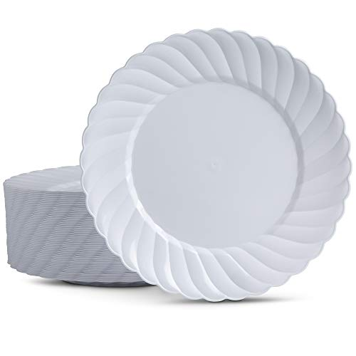 50 Disposable Plastic Plates Round 9